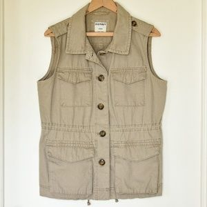 Upcycled Khaki Old Navy Vest | M